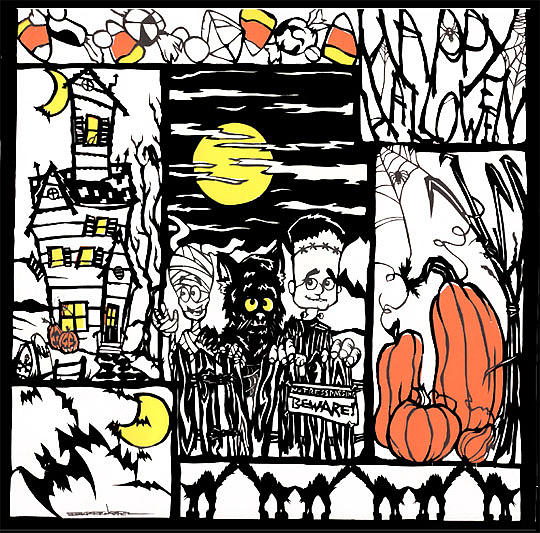 Halloween Tapestry - Textile - Halloween Papercut1 by Eric Fronapfel