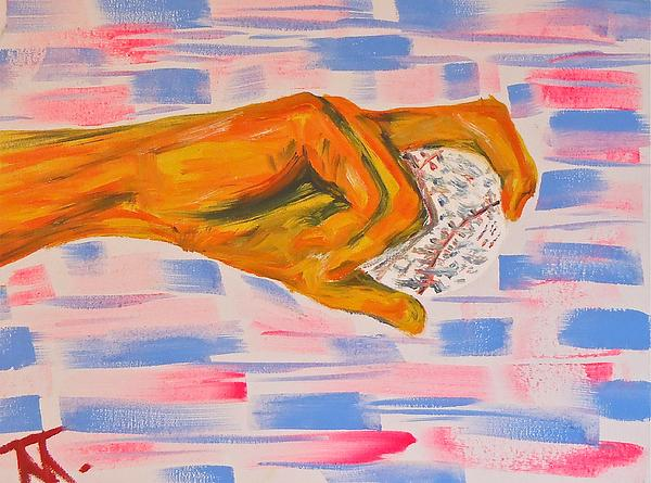 Hand Baseball Painting - Hand And Baseball by Troy Thomas