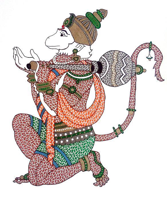 Hanuman Drawing - Hanuman by Kruti Shah