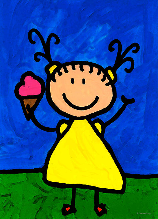 Childlike Painting - Happi Arte 3 - Little Girl Ice Cream Cone Art by Sharon Cummings