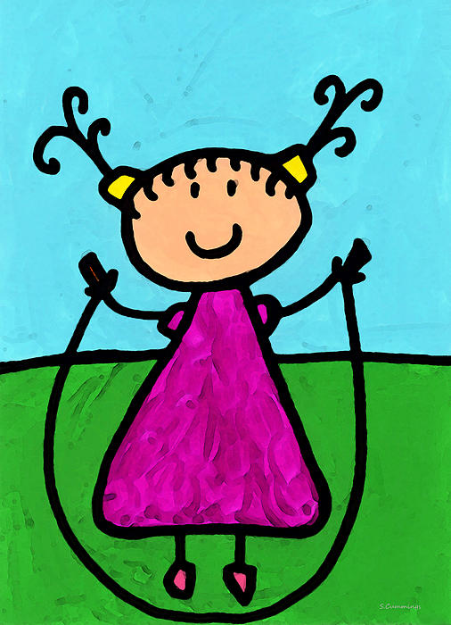 Childlike Painting - Happi Arte 7 - Girl On Jump Rope Art by Sharon Cummings