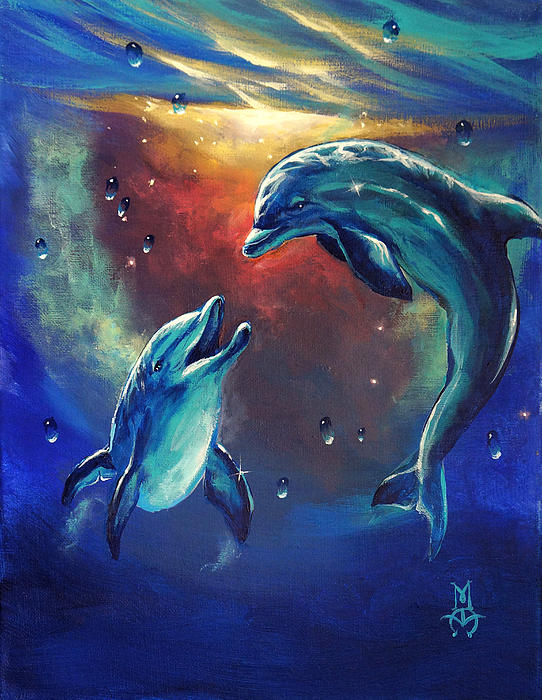 Dolphins Painting - Happy Dolphins by Marco Antonio Aguilar