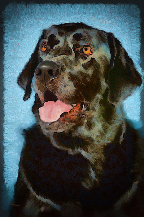 Lab Dog Acrylic Prints Paintings Digital Art - Happy Lab by Angel Pachkowski