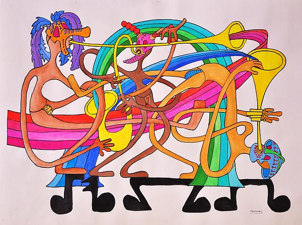Happy Drawing - Happy People Horns by Glenn Calloway