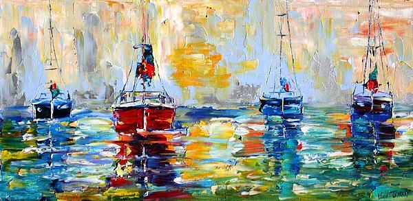 Boats Painting - Harbor Boats At Sunrise by Karen Tarlton