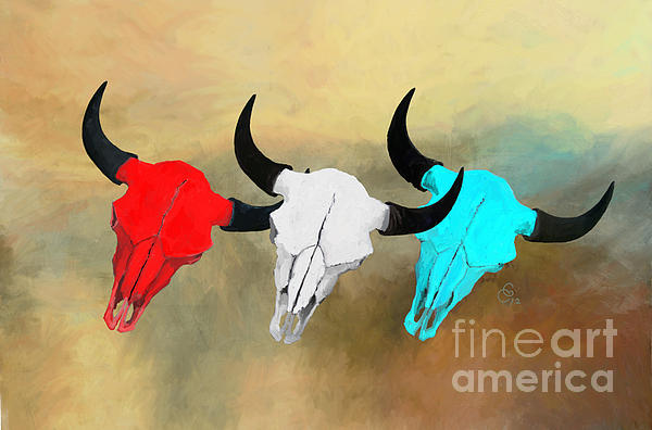 Buffalo Skull Painting - Harts Camp Buffalo Skulls by GCannon