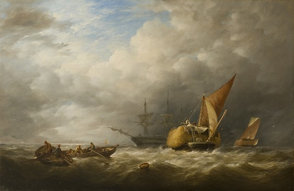 Barges Painting - Hay Barges In The Thames Estuary by Alfred Herbert