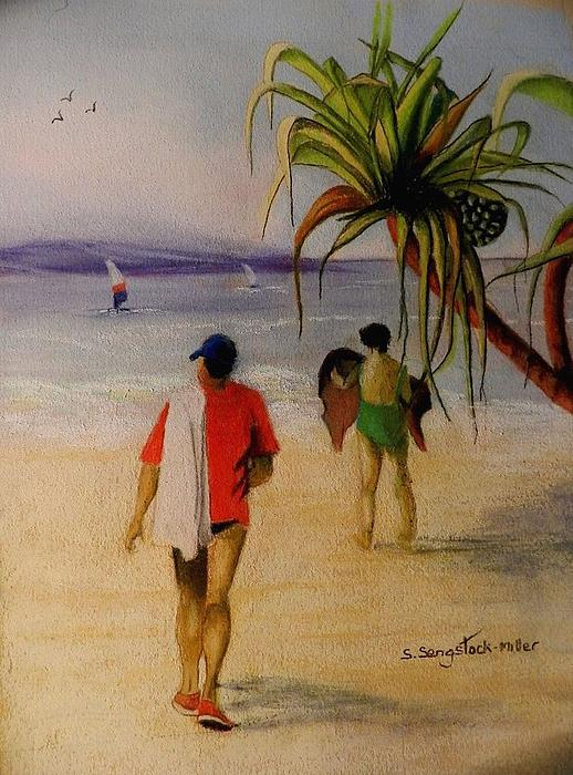 Beach Painting Painting - Heading For A Swim by Sandra Sengstock-Miller