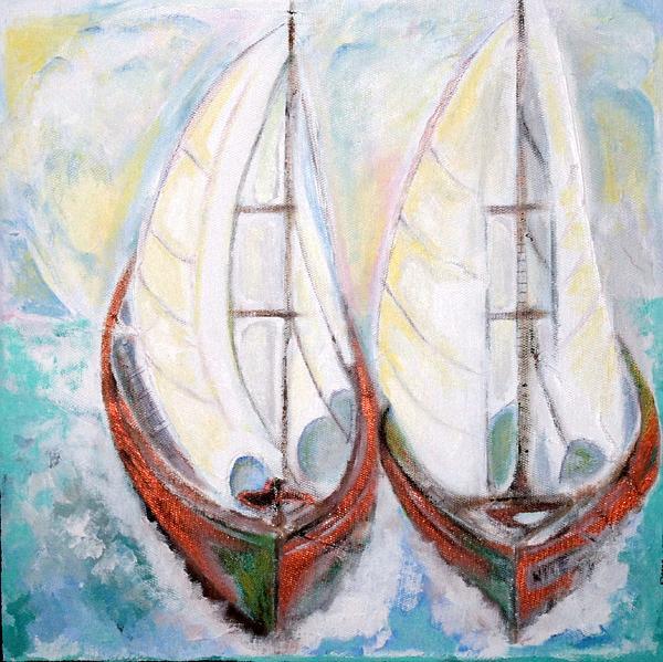 Sail Boats Painting - Heading North Vi by Pius Kendakur