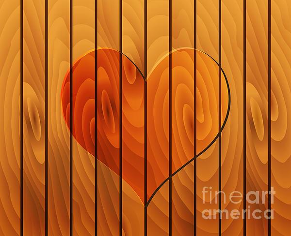 Vector Digital Art - Heart On Wooden Texture by Michal Boubin