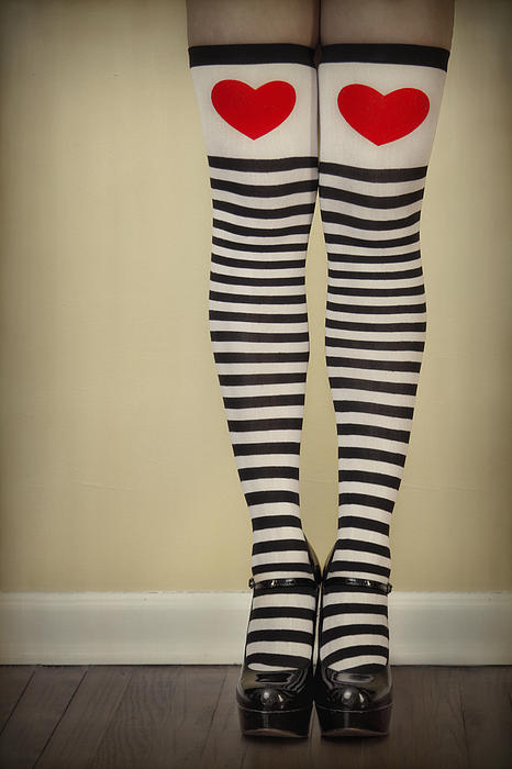 Legs Photograph - Hearts N Stripes by Evelina Kremsdorf