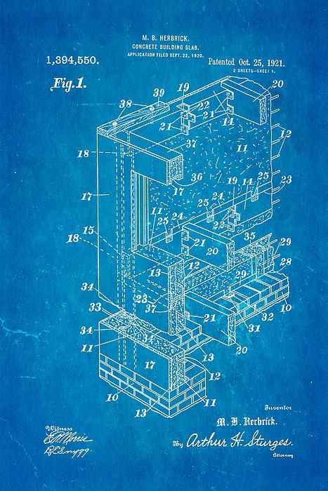 Construction Photograph - Herbrick Concrete Building Slab Patent Art 1921 Blueprint by Ian Monk