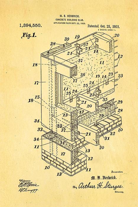 Construction Photograph - Herbrick Concrete Building Slab Patent Art 1921 by Ian Monk