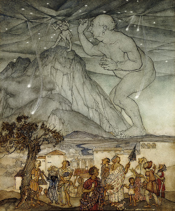 Arm Raised; Astronomical; Astronomy; Belief; British Artist; Childhood; Children; Countryside; Darkness; Early 20th Century; English Art; English Artist; European Artist; Giant; Hercules; Holding; Holding Up; Human Role; Illustrator; Ink Drawing; Looking Up; Male; Men; Mountain; Mountainous; Mountainscape; Myth; Mythical; Mythological; Mythology; Nature; Nocturnal; Outdoors; Rural; Size; Sky; Standing; Strength; Strong; Support; Supported; Supporting; Tree; Villager; Watercolor; Watercolour Painting - Hercules Supporting The Sky Instead Of Atlas by Arthur Rackham
