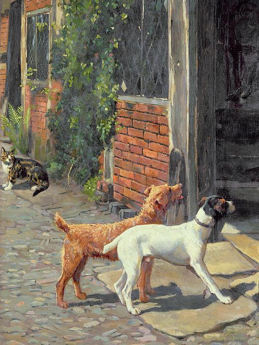 Dog Painting - Hesitation by Alfred Duke