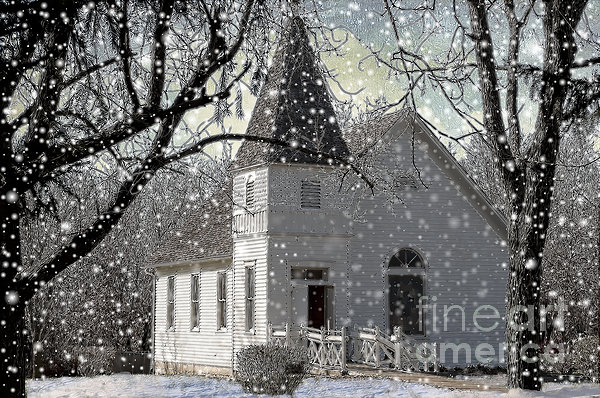 Winter Photograph - Higgensville Church by Liane Wright