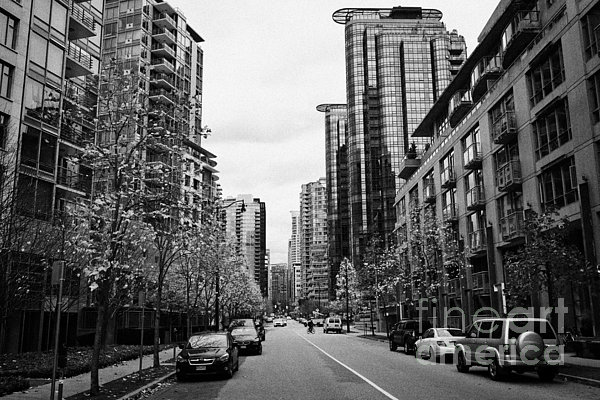High-rise Photograph - high rise apartment condo blocks in the west end west pender street Vancouver BC Canada by Joe Fox