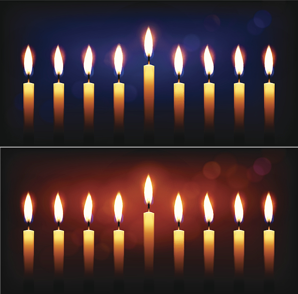 Holiday Candles And Candle Light Hanukkah Celebration. Drawing by Bubaone