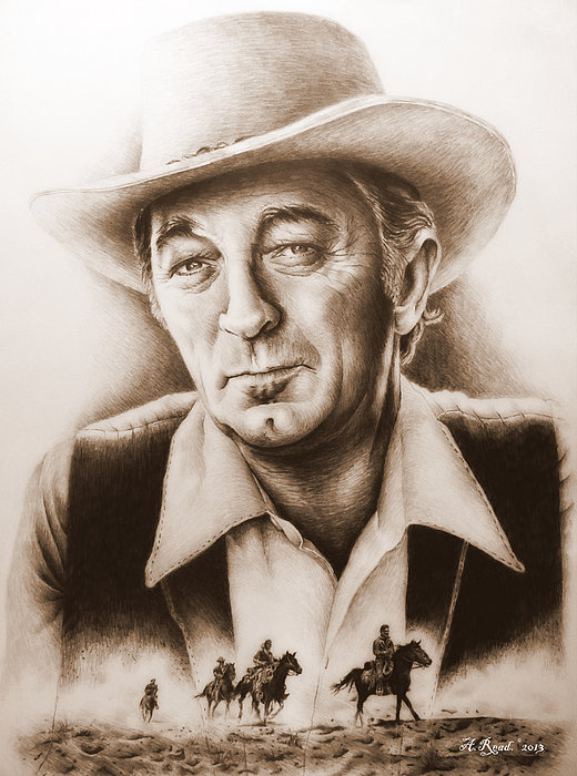Robert Mitchum Drawing - Hollywood Greats Mitchum by Andrew Read