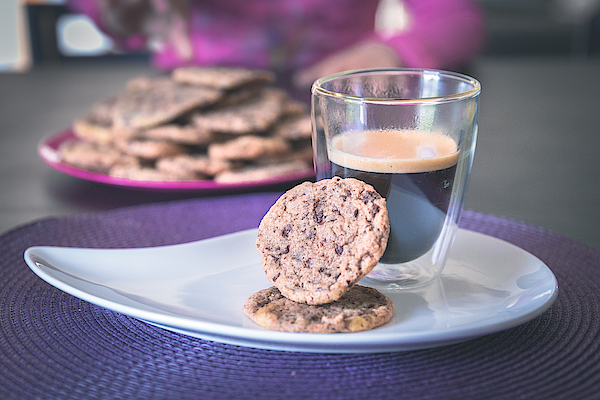 Homemade Chocolate Cookies With A Hot Black Coffee Photograph by Robin-Angelo Photography