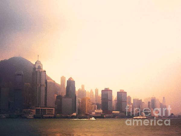 Hong Kong Painting - Hong Kong Harbour Sunset by Pixel  Chimp