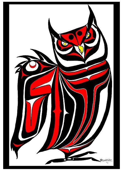 Horned Drawing - Hornd Owl by Speakthunder Berry