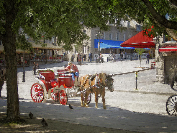 Horse Photograph - Horse And Carriage Street Scene Montreal by Ann Powell