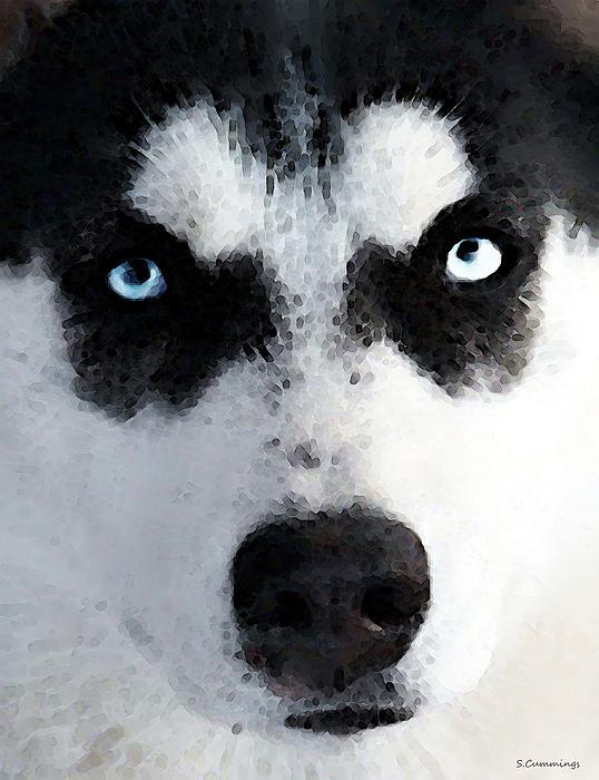 Husky Painting - Husky Dog Art - Bat Man by Sharon Cummings