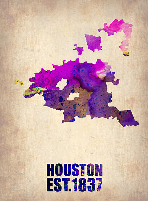 Huston Digital Art - Huston Watercolor Map by Naxart Studio