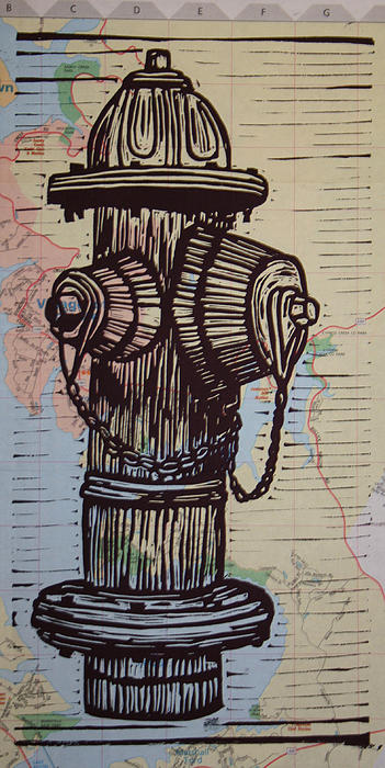 Hydrant Drawing - Hydrant On Map by William Cauthern