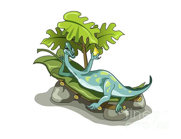 Horizontal Digital Art - Illustration Of An Iguanodon Sunbathing by Stocktrek Images
