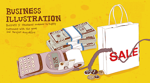 Illustration Of Card Reader, Money And Shopping Bag Drawing by Ivary