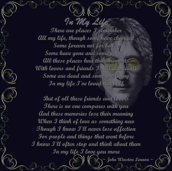 Lennon Digital Art - In My Life Golden Scroll by Movie Poster Prints