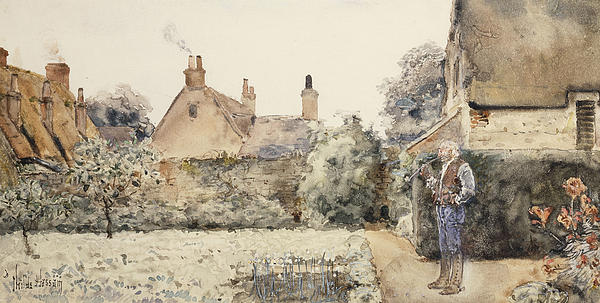 American Impressionism; American Impressionist; Architectural Feature; Architecture; Building; Caucasian; Caucasian Ethnicity; Chinese White; Cottage; Drawing; Flowering Plant; Flowers; Foliage; Garden; Gardener; Gesture; Gesturing; Hand Gesture; Hand On Hip;hand Raised;hand Movement; House; Leisure & Pastimes; Man; Nature; Old Age; Old Man; Outdoors; Pipe; Posing; Posture; Roof; Roofed; Rooves; Senior; Senior Adult; Side View; Smoke; Smoking; Standing; Thatched; Tree; Watercolor; Watercolour Painting - In The Garden by Childe Hassam