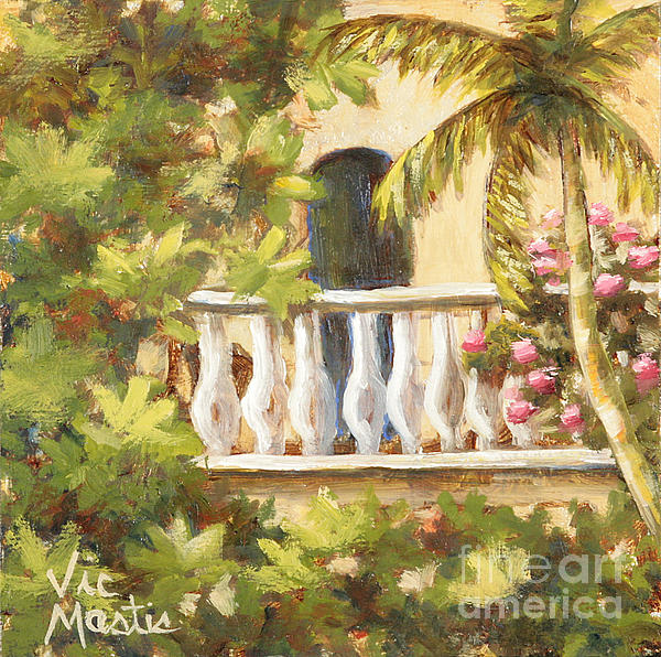 Balcony Painting - In The Oasis With Gold Leaf By Vic Mastis by Vic  Mastis