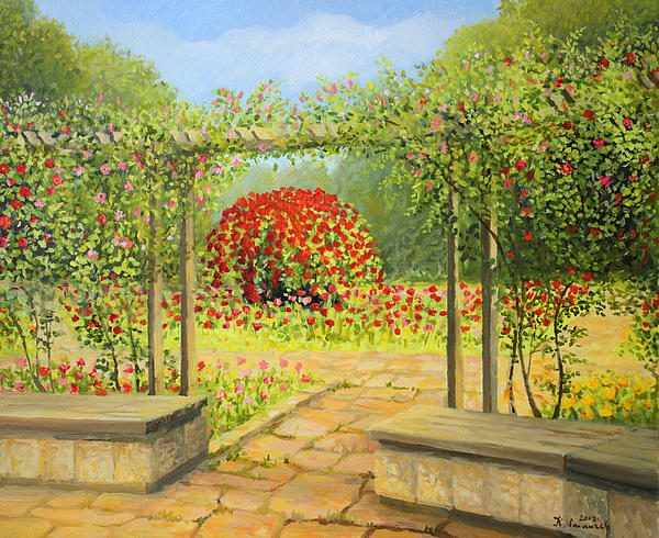 Artistic Painting - In The Rose Garden by Kiril Stanchev