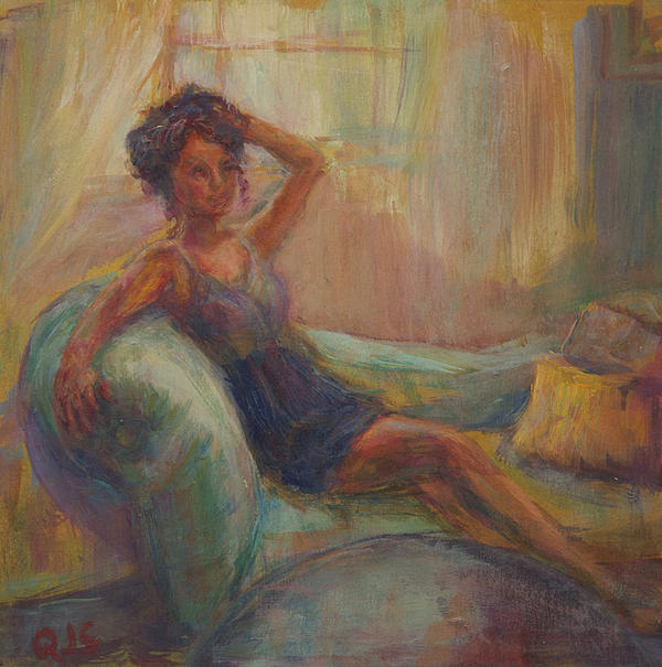 Woman Painting - In The Window Light by Quin Sweetman