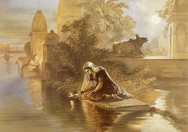 British Raj Drawing - Indian Woman Floating Lamps by William Crimea Simpson