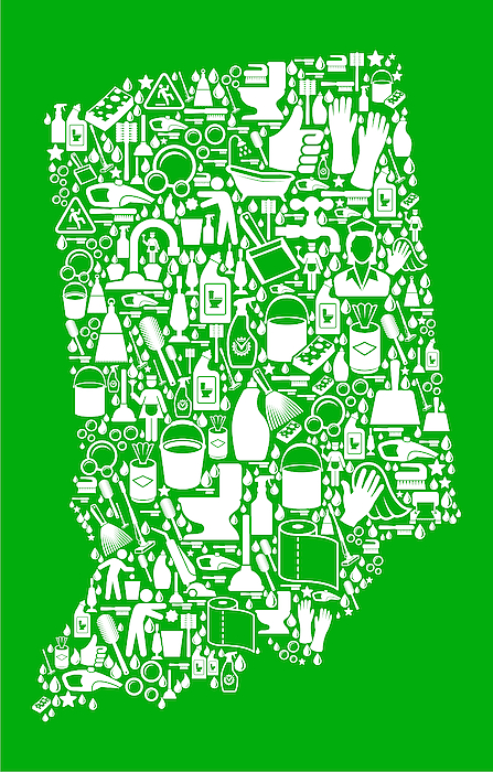 Indiana Cleaning And Chores Green Vector Icon Pattern Drawing by Bubaone
