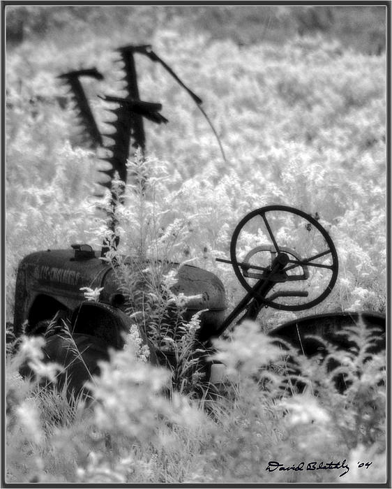 Farm Photograph - Infrared Bw Old Farm Tractor 8  by David Blatchley