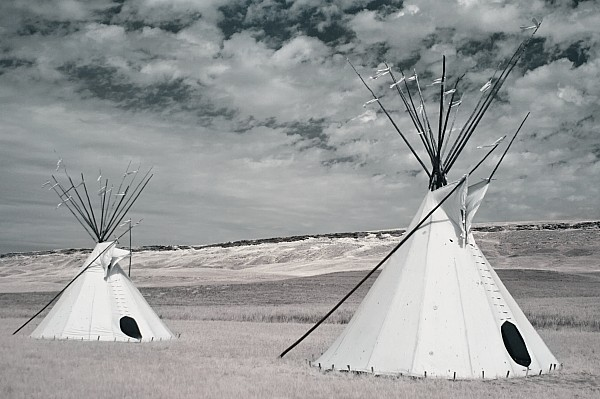 Native American Photograph - Infrared Image Of Native American Tipis by Roberta Murray