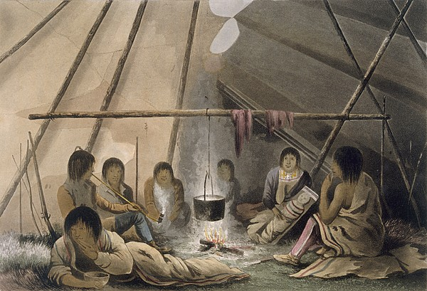 Illutration Drawing - Interior Of A Cree Indian Tent, 1824 by Lieutenant Hood
