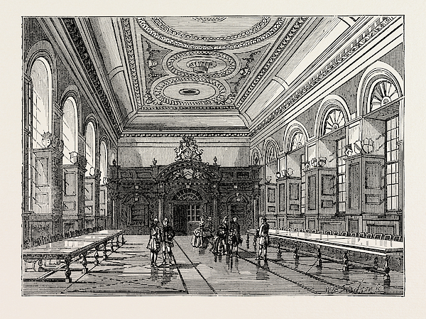 Interior of stationers hall 1876 london drawing by english for Drawing hall interior