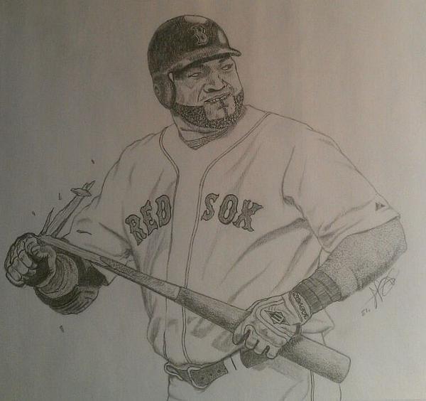 Intimidating David Ortiz Drawing by Rox Fort