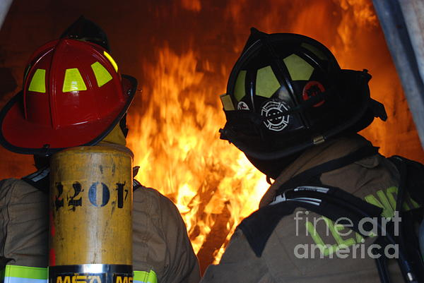 Firefighters Photograph - Into The Fire by Steven Townsend