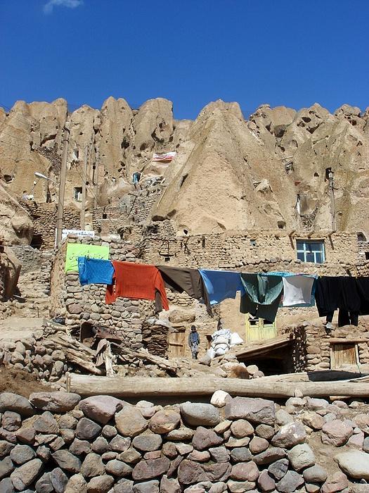 Kandovan Photograph - Iran Kandovan Stone Village Laundry by Lois Ivancin Tavaf