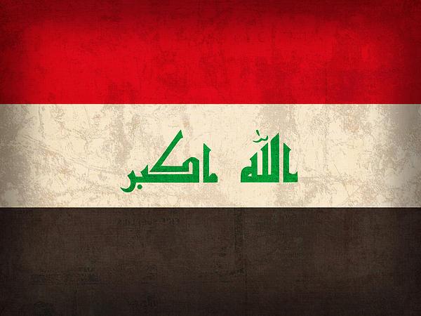 Iraq Mixed Media - Iraq Flag Vintage Distressed Finish by Design Turnpike