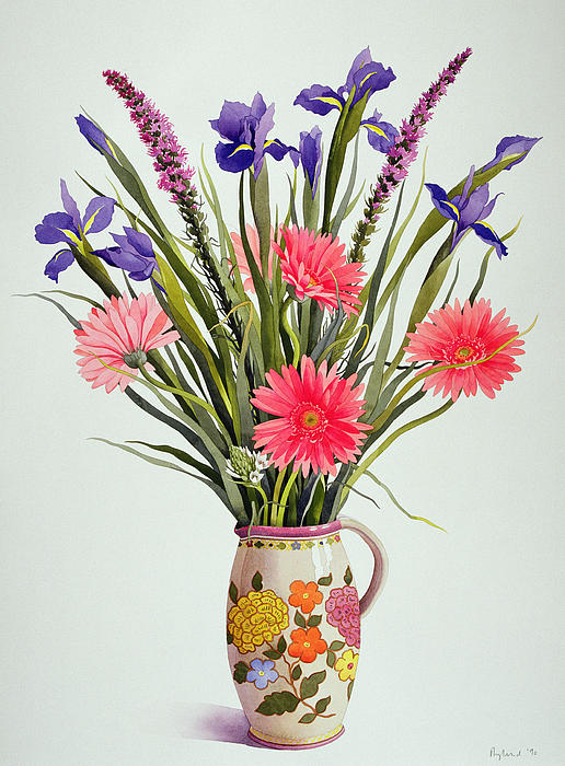 Arranged Painting - Irises And Berbera In A Dutch Jug by Christopher Ryland