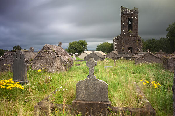 Dingle Photograph - Irish Graveyard Cemetary Dark Clouds by Dirk Ercken