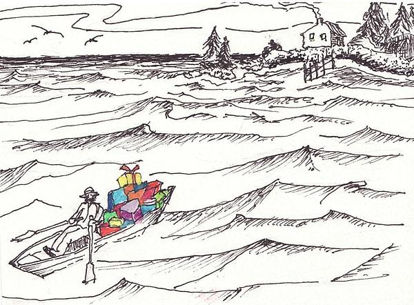 Greeting Cards Drawing - Island Christmas In Coastal Maine by Robert Parsons
